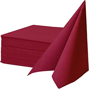 KMAKII Cloth Like Napkins,Disposable Napkins,Air-laid Dinner Napkin,Premium Colored Napkins Ideal For Dinner, Events, Weddings&Party,Durable, Elegant,Burgundy Red, Set of 50 16 x 16 inches