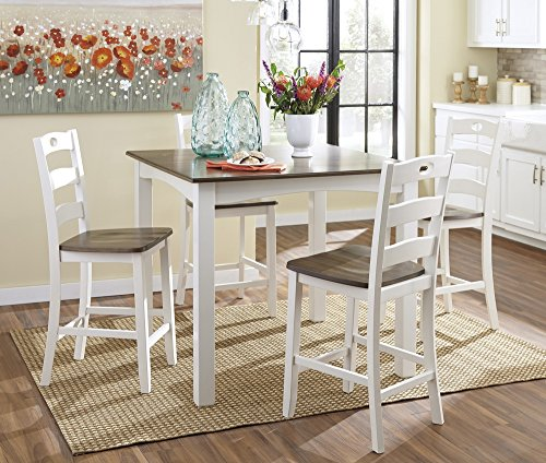 Ashley Woodanville D335-223 5-Piece Square Counter Table Set with Brown Tabletop and Contoured Stool Seats with Legs in