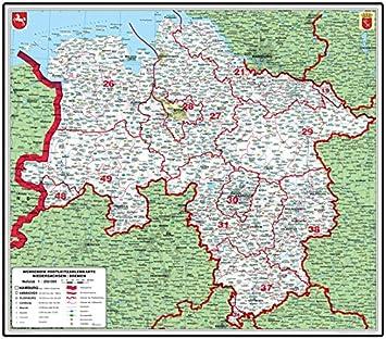 Amazon De Xxl Niedersachsen Bremen Postleitzahlenkarte Grun
