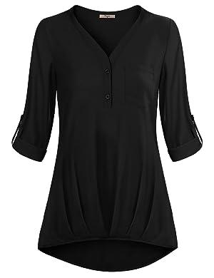 Chiffon Top,Cestyle Long Sleeve V Neck Blouse for Leggings Fashion Basic Soft Shirring Drape Top Black X-Large