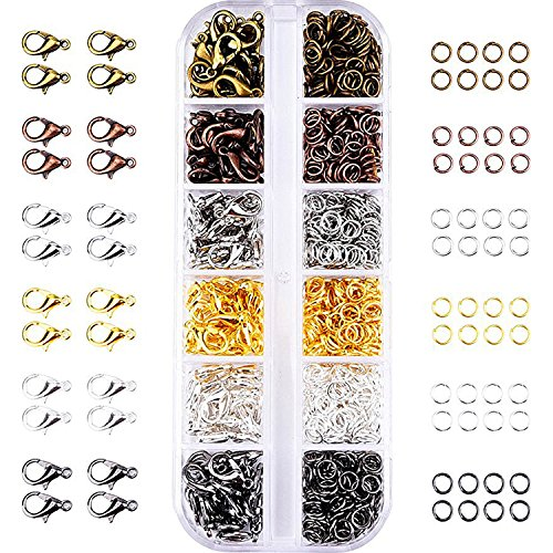 (Mudder 6 Colors Lobster Claw Clasps and 6 Colors Open Jump Rings for Jewelry Making (12 mm, 5 mm))