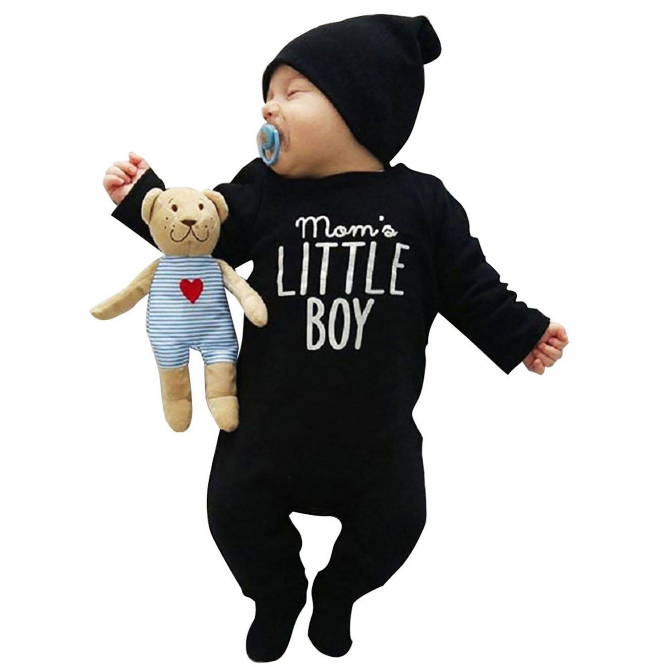 Carolilly UK Newborn Outfit Baby Boys Romper Cute Long Sleeve Jumpsuit One Piece Bodysuit