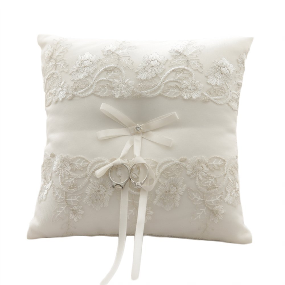 MeryaDress Ivory Satin and Lace Wedding Ring Pillow Cushion Embroider Flower with Bow, 8 Inch (21cmx 21cm) Ring Bearer for Beach Wedding, Wedding ceremony-C