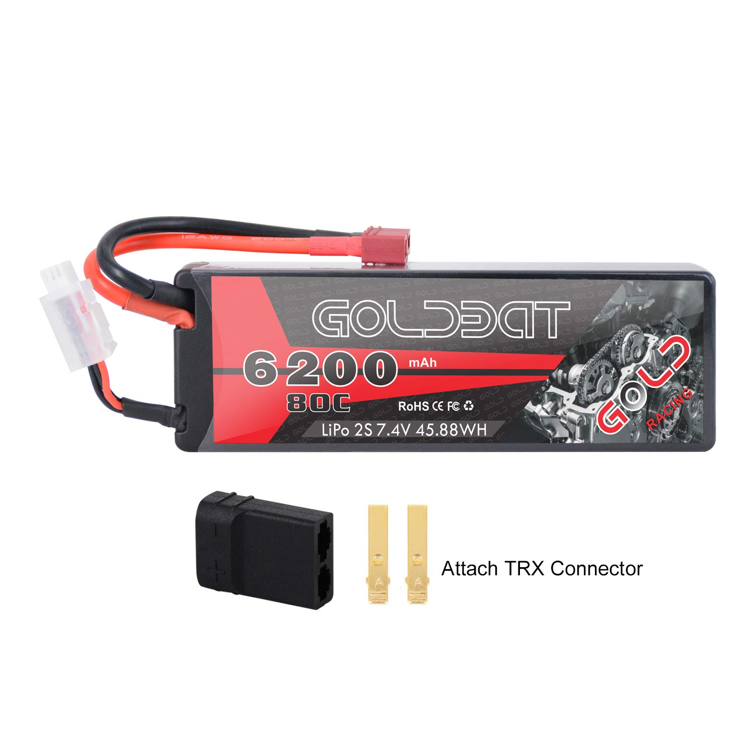GOLDBAT 2S 6200mAh 7.4V 80C LiPo RC Battery Hard Case with Deans Plug and TRX Connector for RC Evader BX Car RC Truck RC Truggy RC Heli Airplane Drone FPV Racing ... (6200-2S-80C)