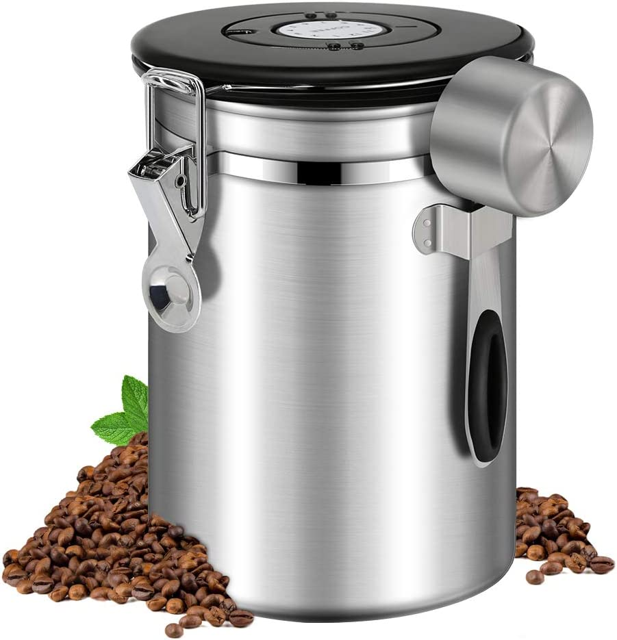 Panda Grip Coffee Canisters with Airtight Lids Coffee Container Stainless Steel Coffee Jar with Scoop for Coffee Storage 16OZ Silver