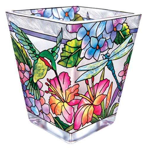 Hand-Painted Glass with Colorful Hydrangea and Hummingbird Design, 3 Inches Tall ()