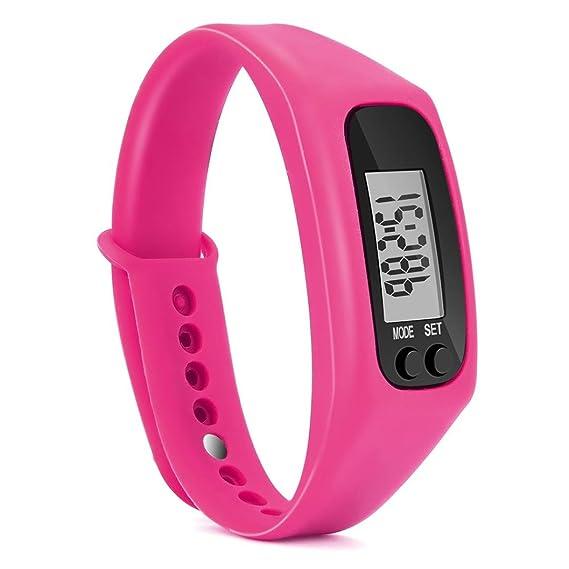Run Paso Reloj Pulsera Podómetro contador de calorías Digital somesun LCD pie, color hot pink: Amazon.es: Relojes