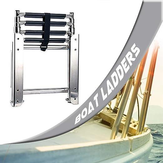 SCXLF 4-Escalones Escaleras para Barcos, Escalera de Buceo con Muelle de Pontón Telescópico de Acero Inoxidable, Escalera para Barco Cubierta Removible para Yate: Amazon.es: Hogar