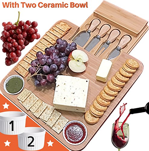 Porcelain Cheese Board (Fancy gifts for Mom, Mothers Day, Women, Wedding, Housewarming, Birthday, Bamboo Cheese Board w/Cutlery Set, Wooden Charcuterie Platter, 4 Stainless Steel Knife, 2 Bowl, Wine & Meat Plate w/Drawer)