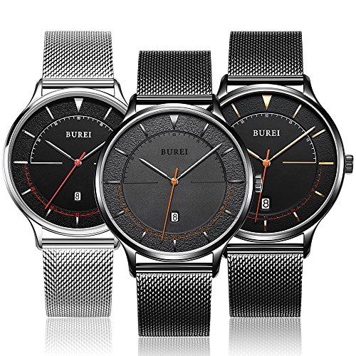BUREI-Mens-Minimalist-Quartz-Watch-Simple-Analogue-Dial-with-Date-Calendar-and-Milanese-Mesh-Band