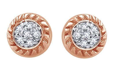 3082855f2a3 Amazon.com  White Natural Diamond Cluster Circle Rope Border Stud Earrings  in 14k Solid Rose Gold (0.08 Cttw)  Jewelry