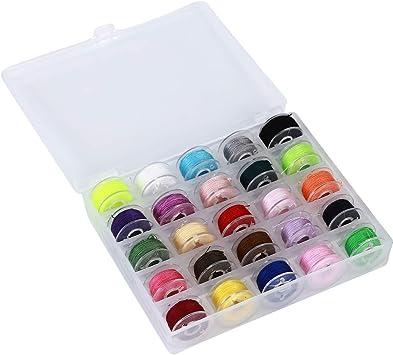 Yunzee 25 bobinas de Colores y Hilos de Costura con Estuche de ...