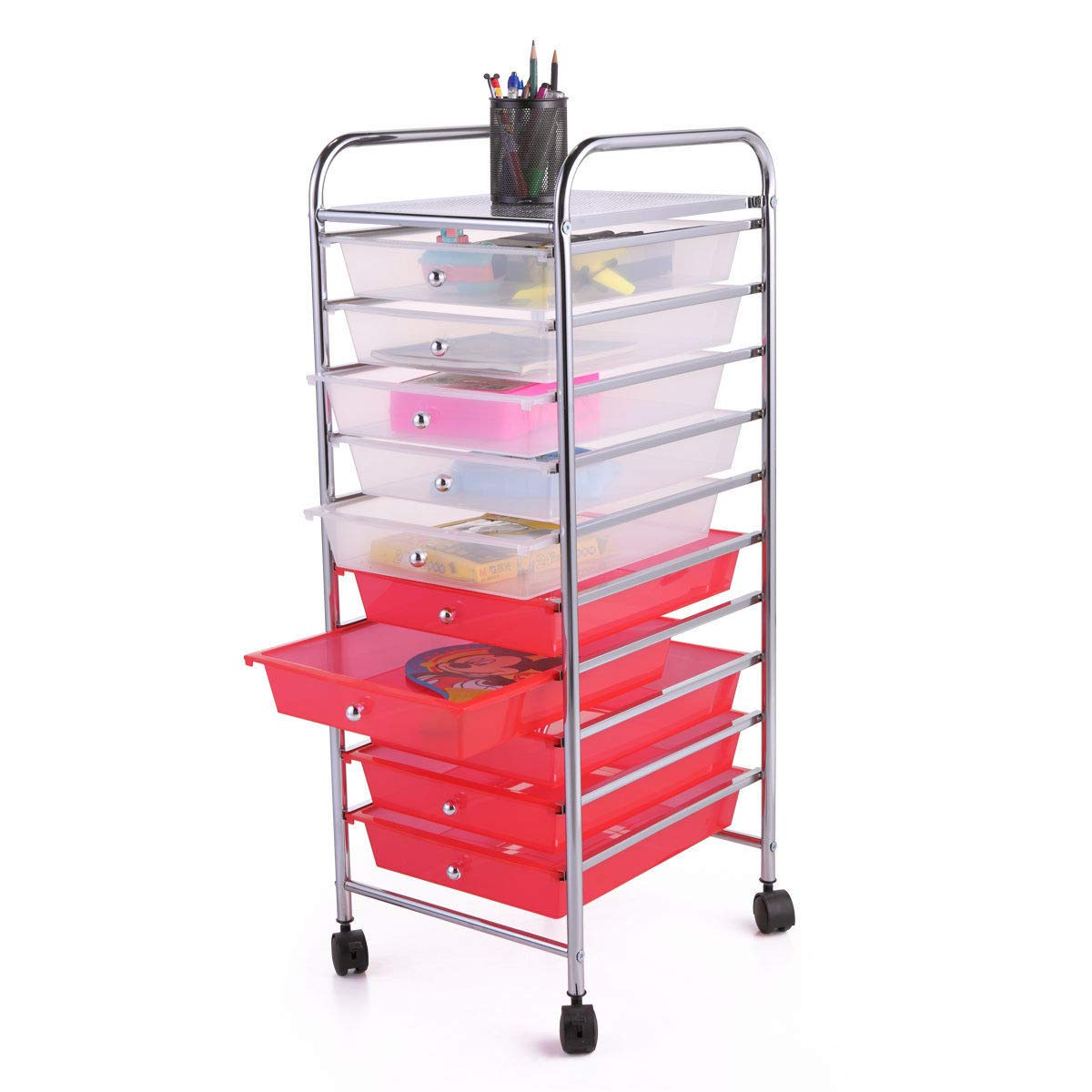 Rolling Storage Cart Mobile Organizer w/ 10 Removable PP Drawers Multiple Colors