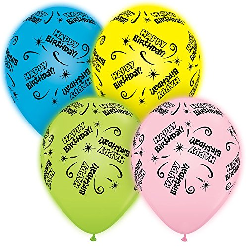 Pioneer National Latex Qualatex Q-Lite LED Light up Latex Party Pack Birthday (24 Balloons) Supplies, Assorted, 10' 10 57467