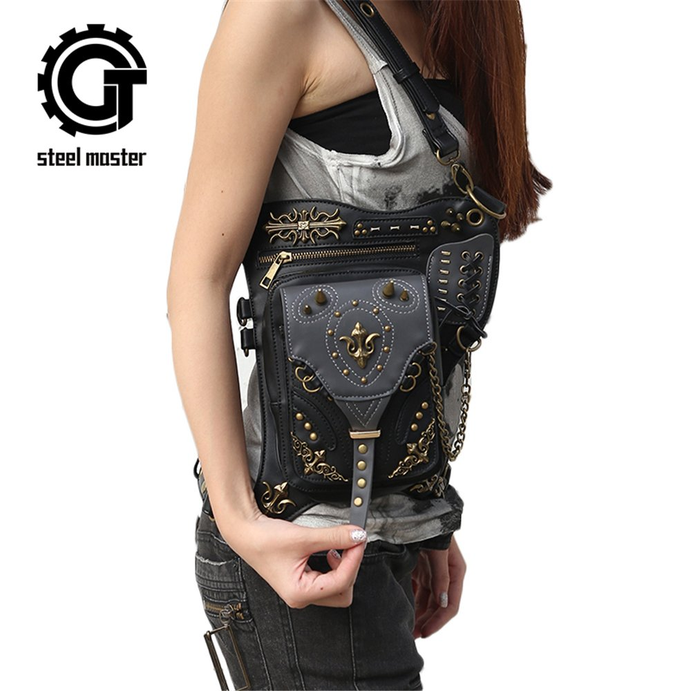 Steampunk Waist bags Womens Motorcycle Leg Bags Vintage Gothic Leather Messenger Bags