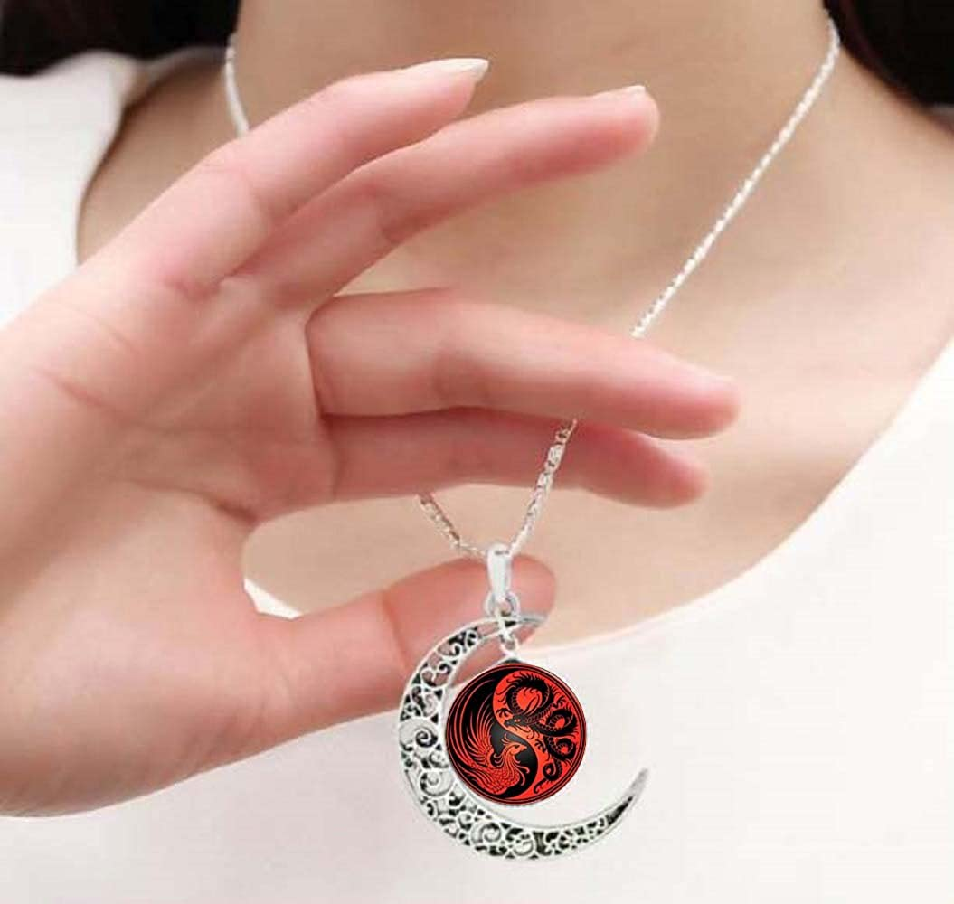 Gemingo Red Dragon Yin Yang Necklace Hand Crafted Moon Crescent Necklace Yin Yang Jewelry