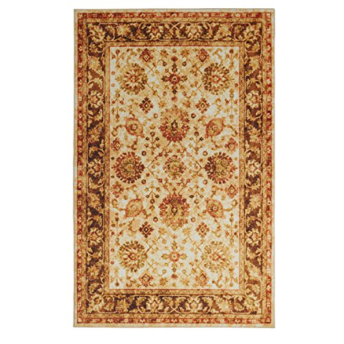 Rug Rectangle Antique Gold (Mohawk Home Z0121 A522 096120 EC Prismatic Macon Antique Traditional Floral Precision Printed Area Rug, 8'x10', Gold)