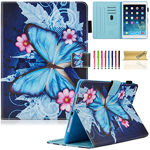 iPad 9.7 inch 2018 2017 Case/iPad Air Case/iPad Air 2 Case, Dteck PU Leather Folio Smart Cover with Auto Sleep Wake Stand Wallet Case for Apple iPad 6th / 5th Gen,iPad Air 1 2, Blue Butterfly