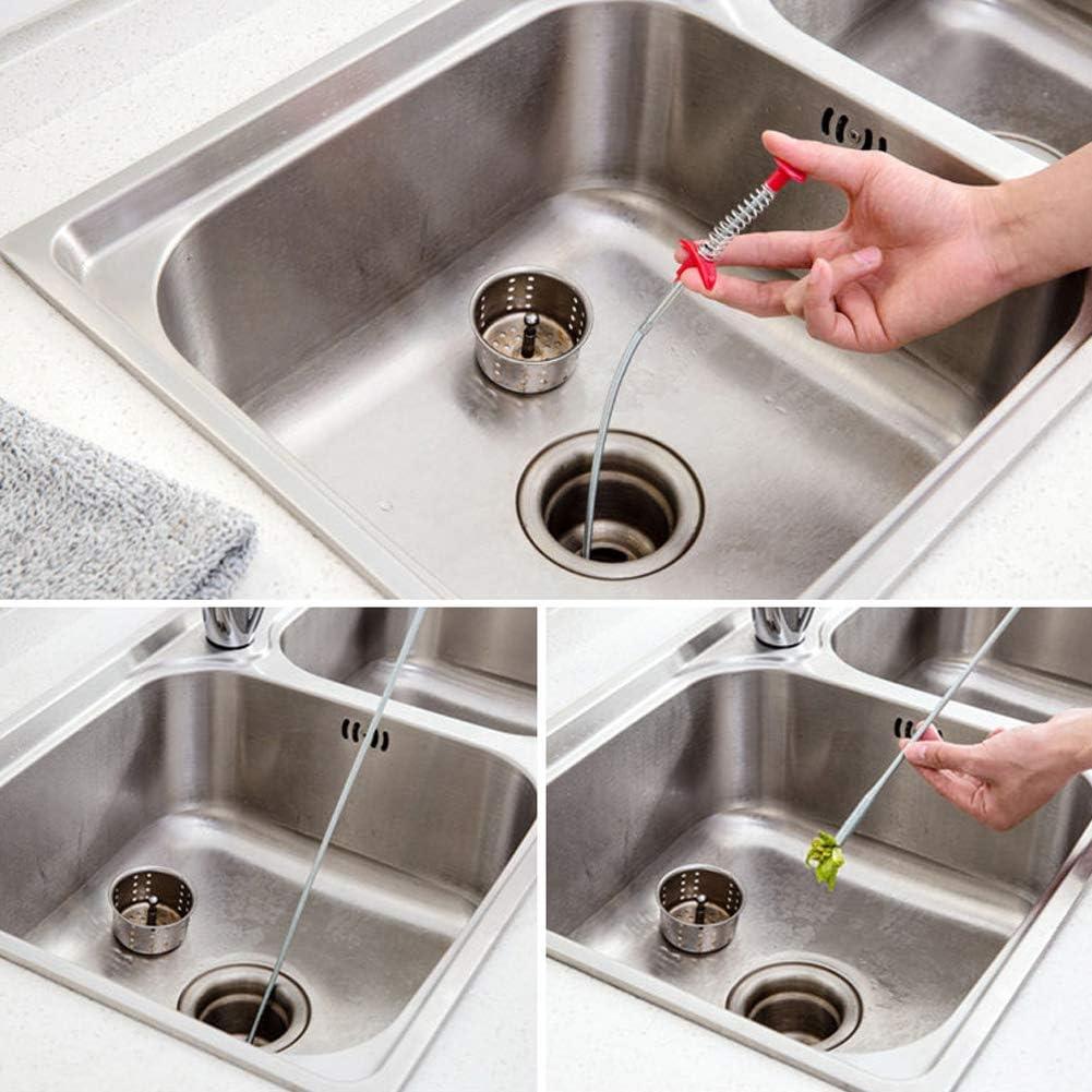 Amoyer Biegbar Abfluss Clog 60cm Wasser Sink Reinigung Haken Fr/ühling Rohr Haarentferner Tragbarer Einfach Zu Bedienen Kanalisation Ausbaggern Tool 1 Pc
