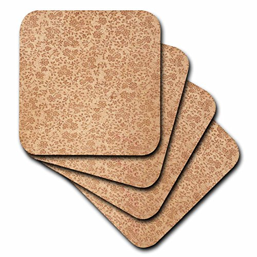 3dRose cst_48155_2 Ancient Beige Wallpaper-Soft Coasters, Set of 8