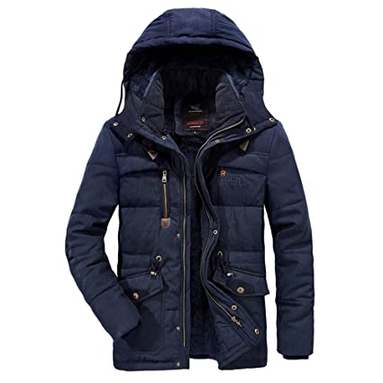 HKDGID Mens Winter Super Warm Velvet Thickened Plus Size Thicken Coats, Solid Casual Padded Windproof Jacket Leather Cotton Padded Coat Overcoat Outwear ...