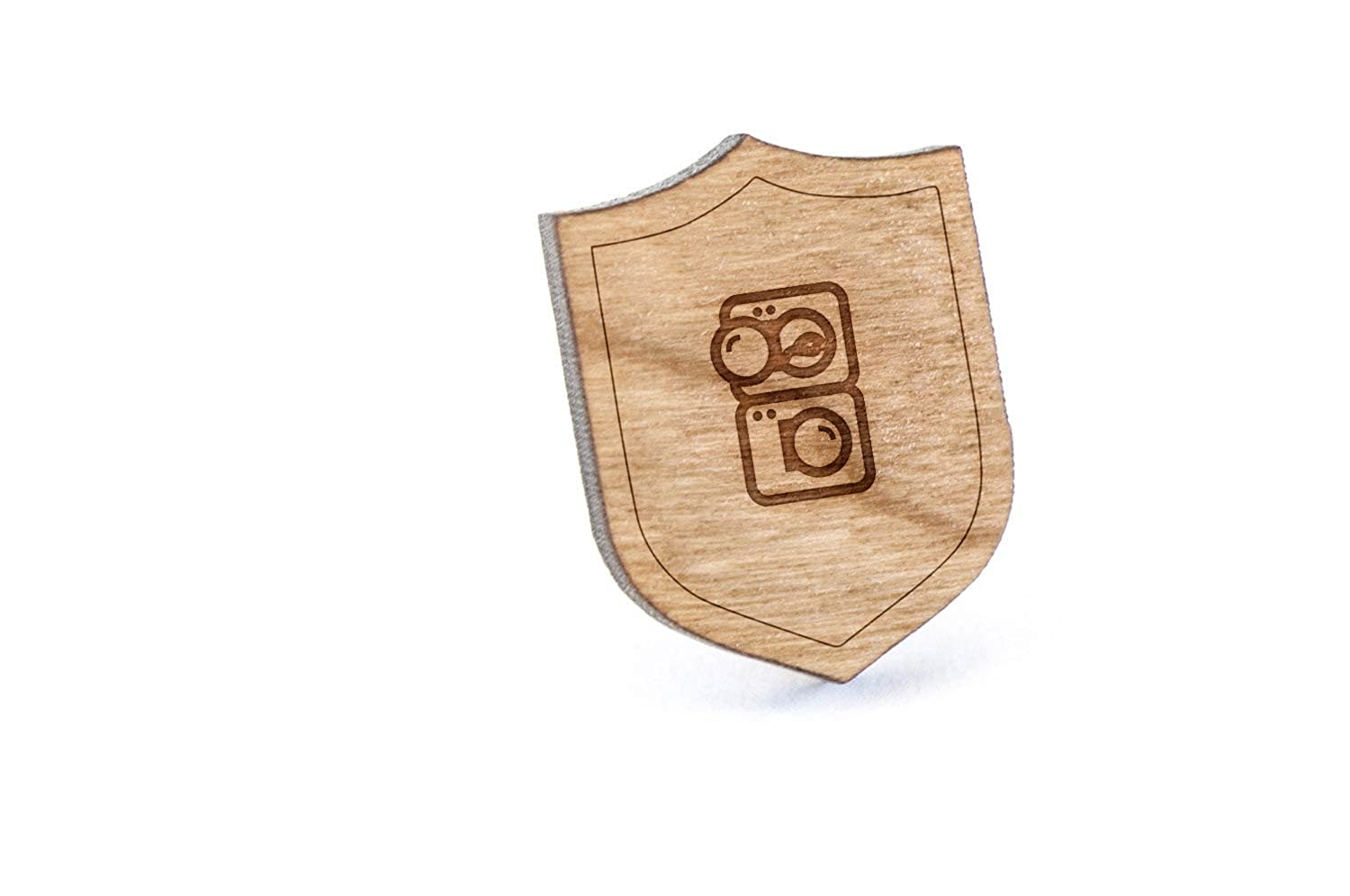 Washer Dryer Unit Lapel Pin, Wooden Pin And Tie Tack | Rustic And Minimalistic Groomsmen Gifts And Wedding Accessories