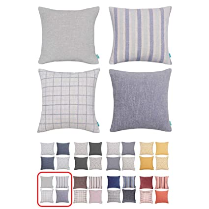 Remarkable Home Plus Plaid Polyester Linen Decorative Pillow Covers Striped Throw Pillows Covers Gray Navy Blue Couch Pillowcase Cushion Cover 18X18 Throw Pillow Ncnpc Chair Design For Home Ncnpcorg