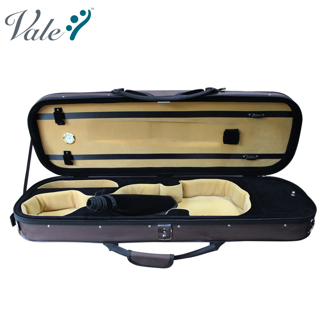 VALE Professional 4/4 Full Size Luxury Oblong Lightweight Foamed Violin Case with Hygrometer (Brown)