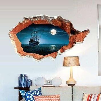 Wowall 3D Broken Wall Hole View Pirate Boat Living Room Decor Sticker Decals