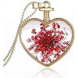 Sunnywill Frauen Trocknen Blume Herz Glas wünschen Flasche Anhänger Halskette für Mädchen Damen