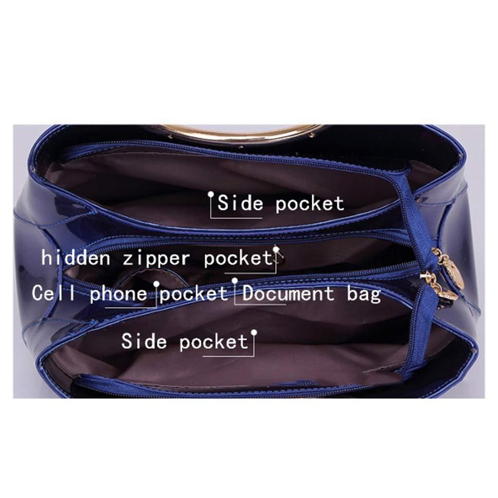 Alltid insistera på framgång aftonväska utsökt mode bärbara handväskor nytt patent läder aftonväska brudväska set (färg: E) a