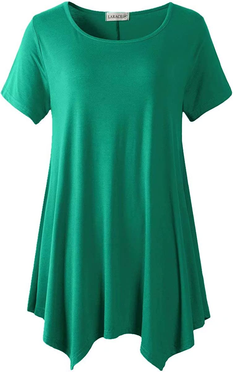 LARACE Womens Swing Tunic Tops Loose Fit Comfy Flattering T Shirt 1X, Deep Green1