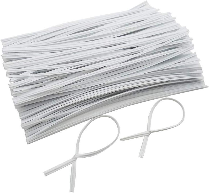 "400 Pcs Metallic Twist Ties, Reusable 5"" White Twist Ties for Garden, Wire management (White-400)"