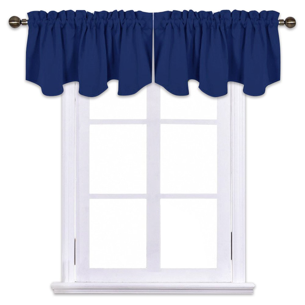 NICETOWN Blackout Tiers Window Valances - 52 by 18 inches Blackout Curtains Pole Pocket Scalloped Valances, One Pair, Navy Blue