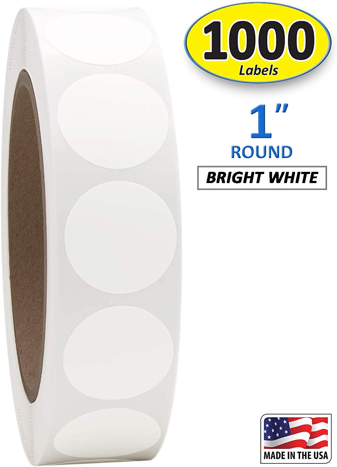 "1"" Bright White Round Color Coding Circle Dot Labels on a Roll, Matte Finish, 1000 Stickers, 1 inch Diameter."