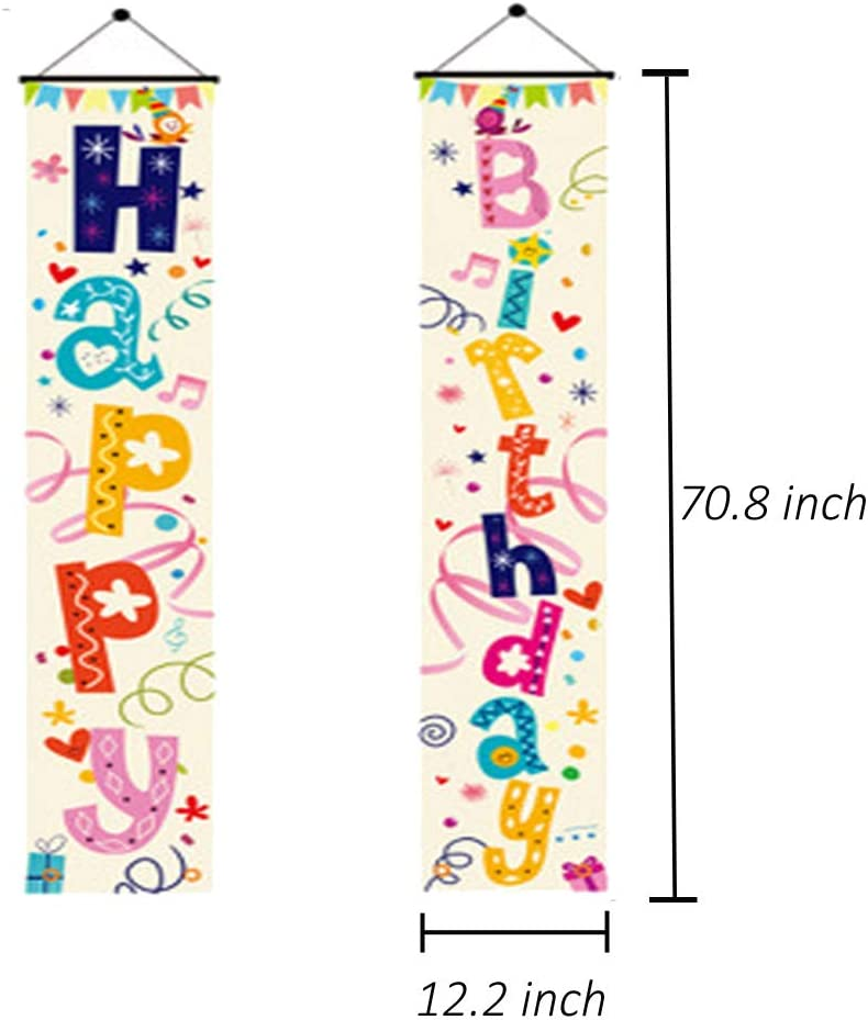 Yizeda Colorful Happy Birthday Porch Sign,Door Banner Decorations Birthday Party Suppliers For Kids