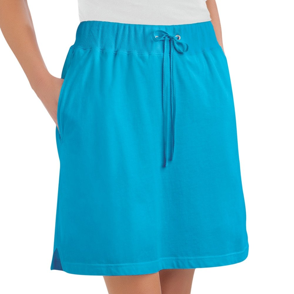 Collections Etc Women's Drawstring Knit Pull-on Skort with Elastic Waist, Turquoise, Large