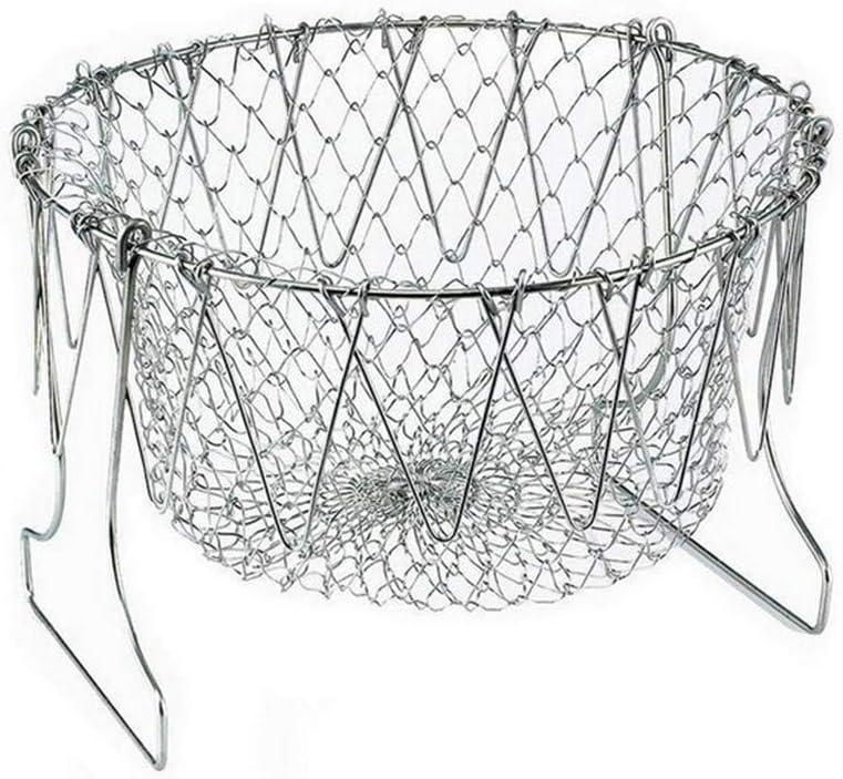 Foldable Fry Basket, Multi-Function Stainless Steel Fry Foldable Fry Basket,Poaching Boiling Deep Frying Basket,Fruit Vegetable Rinsing Washing Cook Tool
