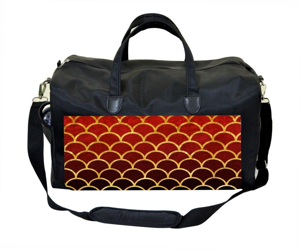 Red Grunge Gilded Scallops Weekender//Overnighter Bag