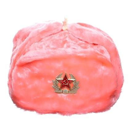 Russian   USSR Winter Pink Fur Ushanka Hat + Soviet Red Star Badge (56( ccd4b7f4952d