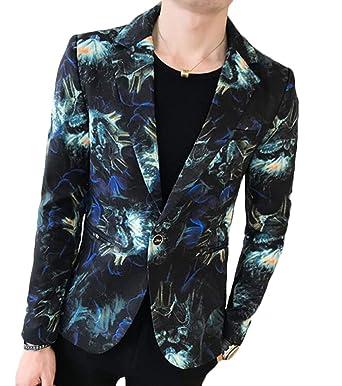 ca617af560032 CRYYU Men Stylish Lapel One Button Suit Jacket Printed Blazer Sport Coat  Blue US XS