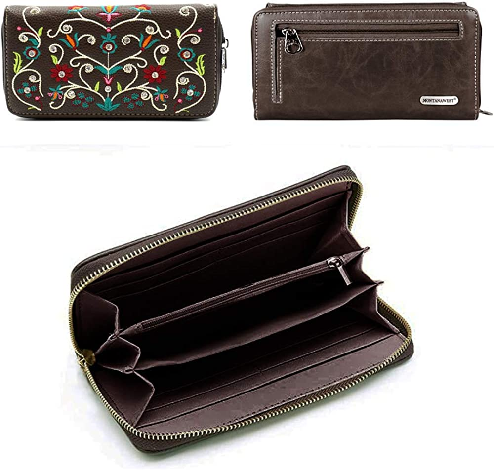 American Bling By Montana West Concealed Carry Purse and Wallet 2 Piece Handbag Set Western Design