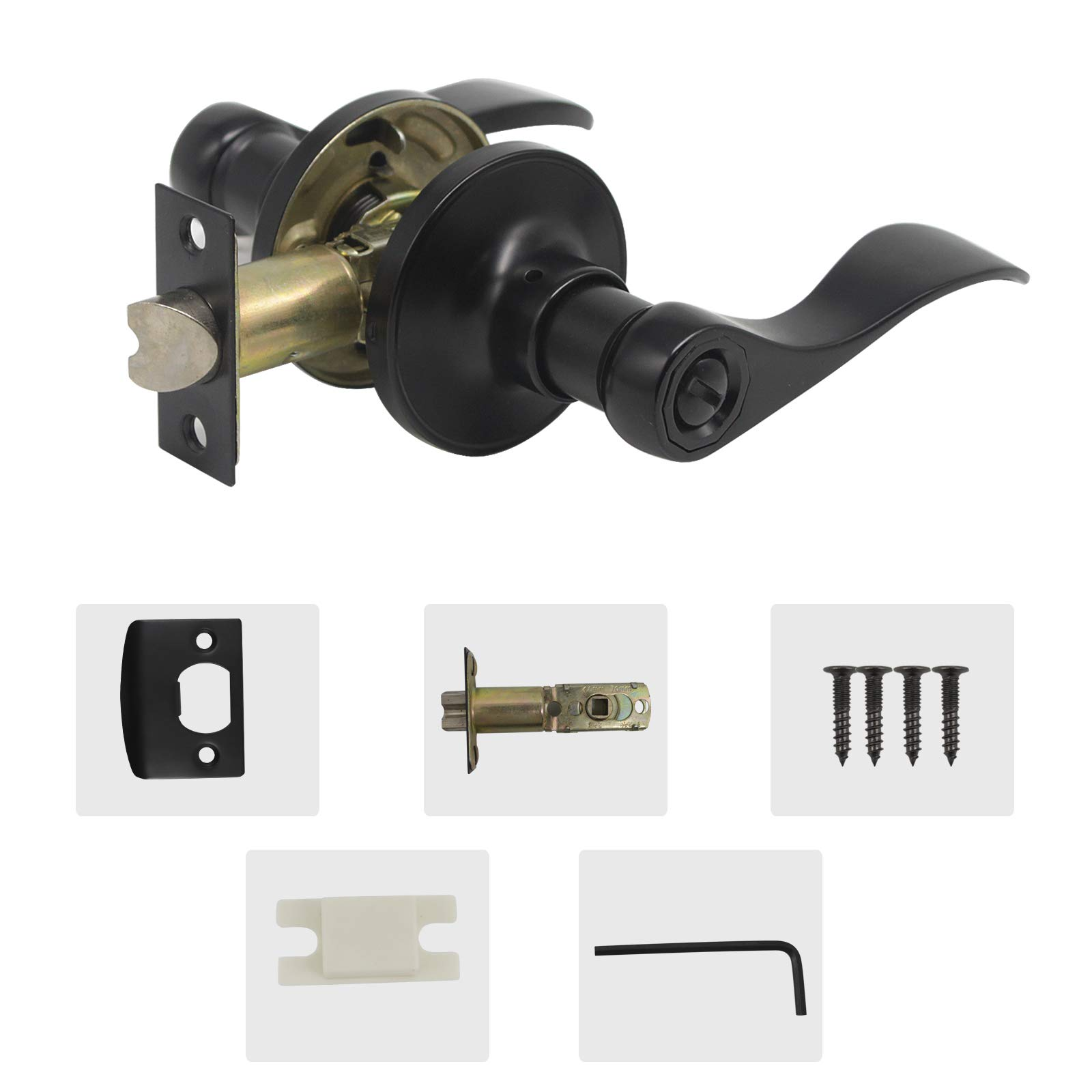 10 Pack Probrico Door Lever Privacy Door Lock Doorknobs Handle Hardware Keyless Lockset for Storage Room Bedroom Bathroom Without Key in Black-Right/Left Handed Reversible by Probrico (Image #4)