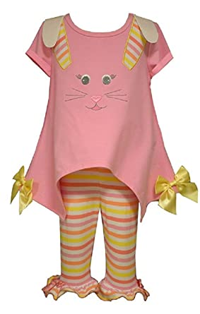 bb79c31bc Amazon.com: Bonnie Baby Baby-Girls Newborn Bunny Applique Legging ...