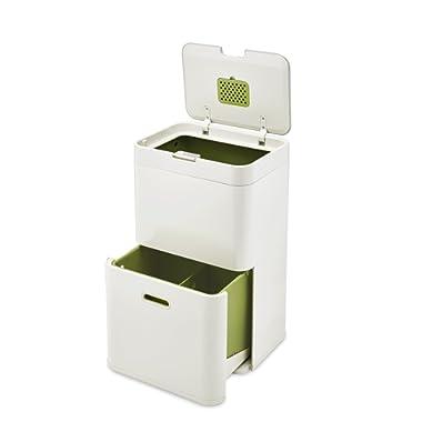 Joseph Joseph 30019 Intelligent Waste Totem Kitchen Trash Can and Recycle Bin Unit, 13 gallon / 48 liter, Stone