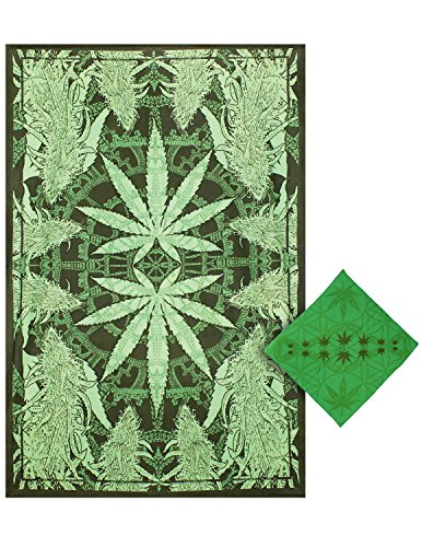Sunshine Joy Hempest Marijuana Leaf Tapestry Tablecloth Beach Sheet Wall Art Huge 60x90 Inches with FREE BANDANA