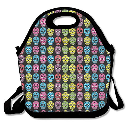 Junnikay Halloween Mexican Sugar Skull 298 Insulated-Lunch Bags Travel/Outdoor/Work/Picnic Lunchbox Shoulder Bag Design Lunch Box Accessories For Kids Adults ()