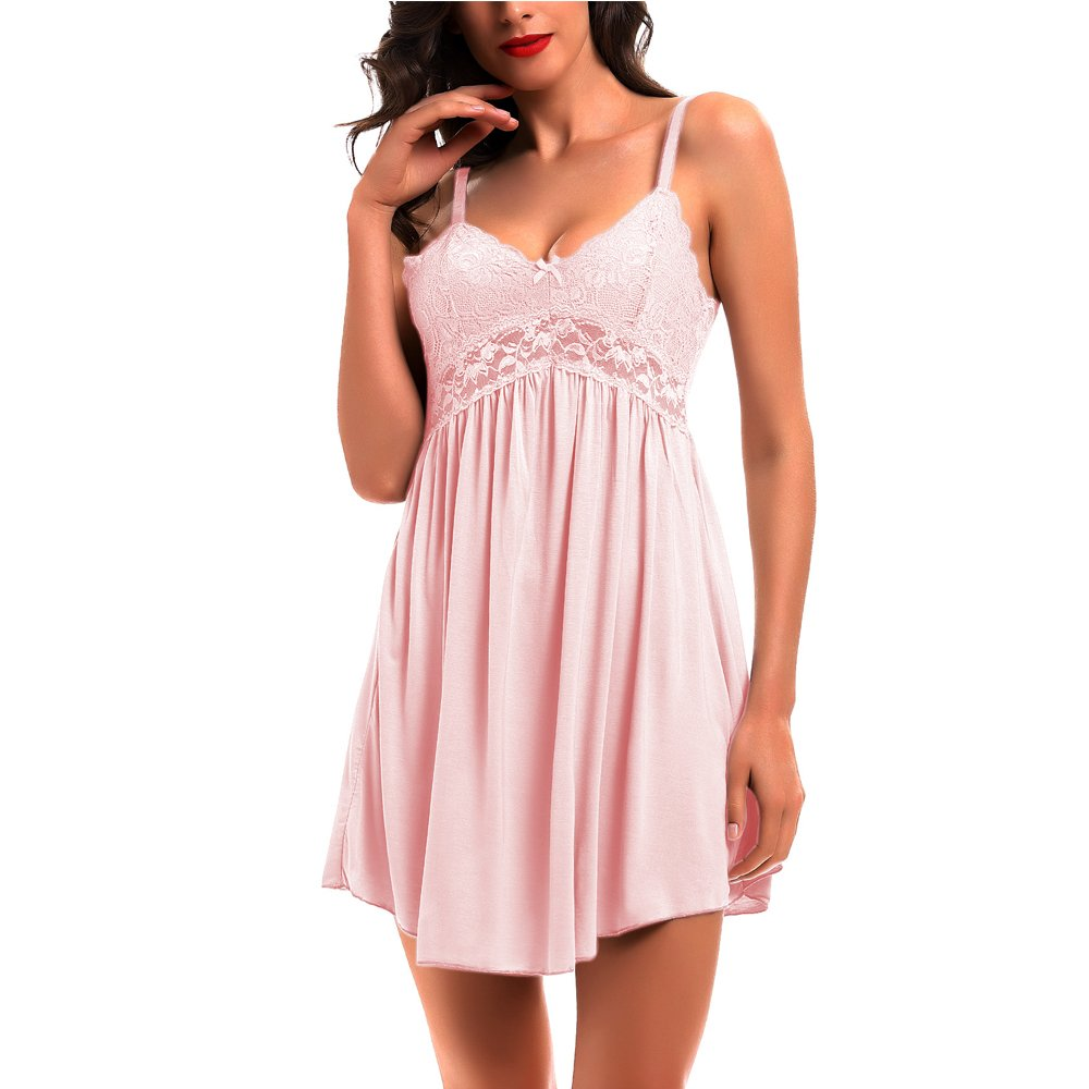 KANILU Women Lace Sleepwear Full Slip Cotton Nightgown-(5 Size:S M L XL XXL) Lace and moodal Cotton Lingerie Sleepwear