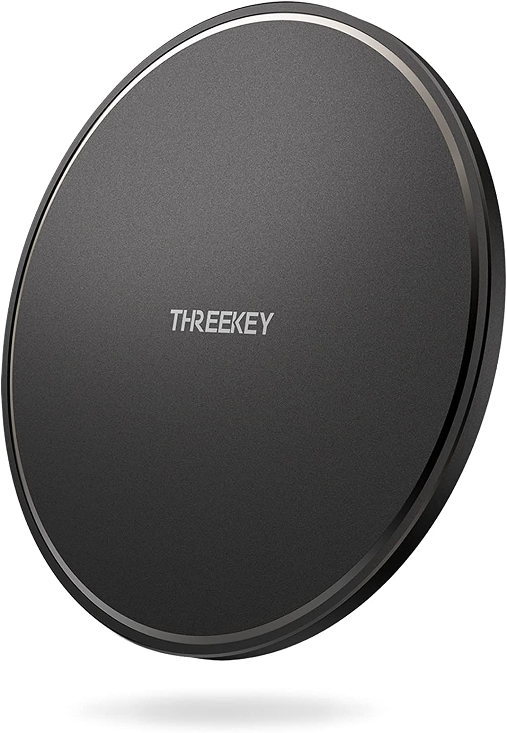 THREEKEY Wireless Charger, 10W Qi-Certified Wireless Charging Pad, Compatible for iPhone 12 Pro Max/SE/11 Pro Max/X/XS Max/8 Plus, Samsung Galaxy S21/S20/Note10/S10, AirPods Pro, Black (No AC Adapter)