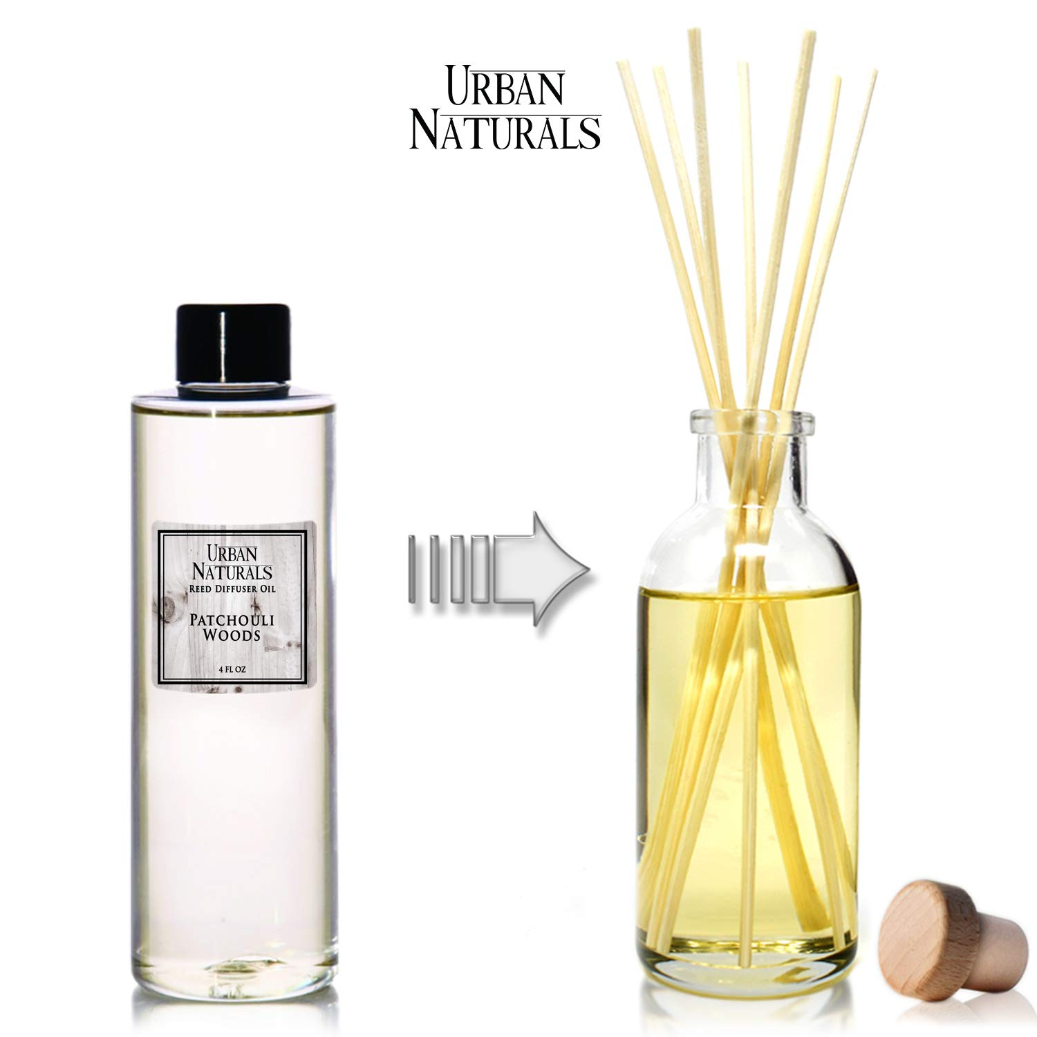 Urban Naturals Patchouli Woods Reed Diffuser Refill Oil with Replacement Sticks Kit | Sandalwood, Patchouli & Ylang Ylang Room Scent. Vegan. Made in The USA by Urban Naturals (Image #2)